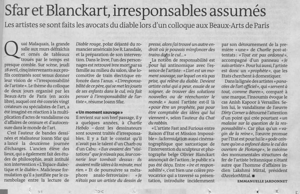 où il est question de l'irresponsable Blanckart