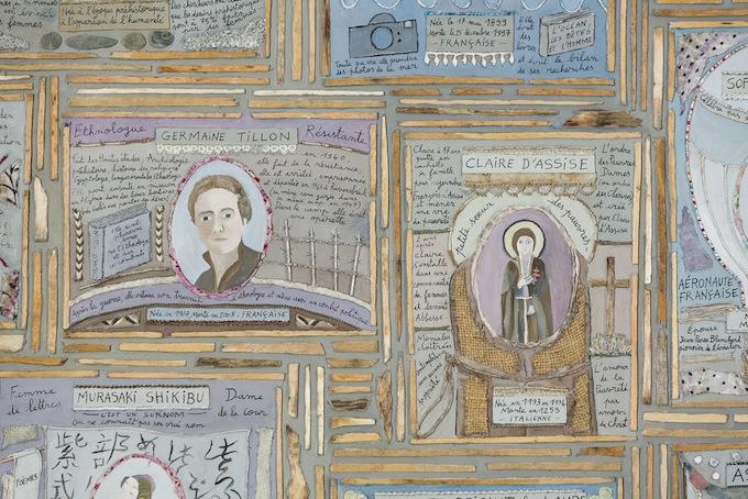 Les Femmes des siècles passés - Marie Morel - 2015 à 2017. 1535cm x 116cm en 5 panneaux. Panneau numéro 1 - 2015.