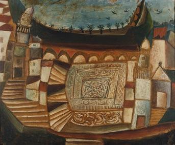 Aristide Caillaud - La Vieille Place , 1946 - huile sur bois 38,7 x 47 cm - acquisition 1985
